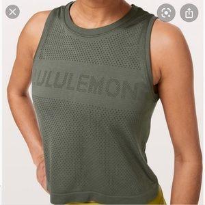 Lululemon Breeze by Muscle Crop Tank olive green